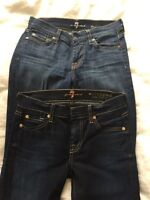2 pairs 7 FOR ALL MANKIND jeans - size 25 - like new