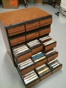 5 Rack Rangement pour Cassettes audio a Tiroirs Avec Cassettes