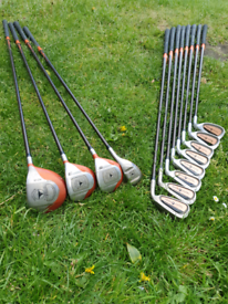 SET OF TAYLORMADE FIRESOLE IRON AND WOODS IN GOOD CONDITION