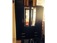 4 door black wardrobe