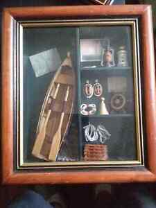 3 sailboat displays and a framed pattle boat with a collection o