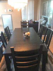 Ikea extendable dining room table and 6 chairs