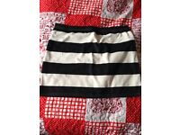Black and white striped skirt size 18