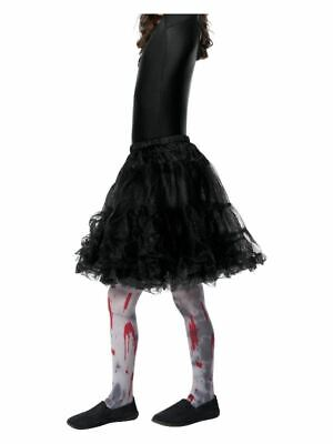 Girls Distressed Blood Stained Zombie Tights Halloween Fancy Dress Age 6-12