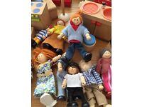 Dolls house furniture all wooden wardrobes sinks beds nine dolls.