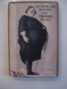 "SPECIAL VINTAGE ['60's] ""NEW-YEAR-RESOLUTION""  FRIDGE MAGNET"