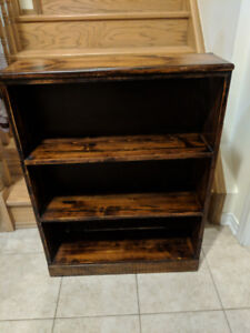 "SOLID WOOD BOOKSHELF/ BOOKCASE DIMENSIONS 35"" BY 26.5"" BY 8"""