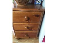 2 small 3 drawer solid wood