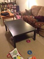 Ikea 'Lack' coffee table and end table in black.
