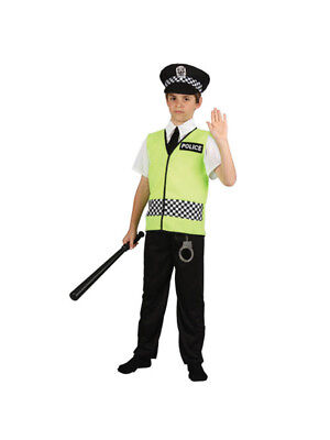 Kids Policeman Costume + Hat Boys Police Uniform Childrens Constable Fancy Dress