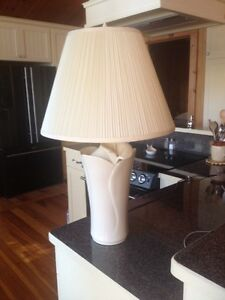 Large cream white table lamp