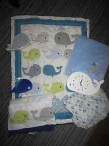 Baby Boy Whale Crib Bedding Set & Accessories