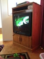 Solid Wood TV stand and older TV-$40 O.B.O