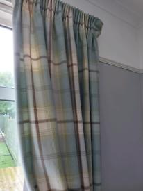 Dunelm Highland Check Tartan Pencil Pleat Curtains and tiebacks