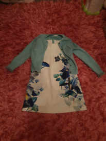 Gorgeous next outfit age 5-6 blue cardigan and butterfly dress