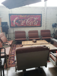 Restaurant Booth Seats -Vintage Train Seats (8) SOLD AS LOT