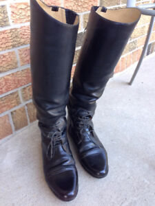 Women's Leather Riding Boots - Size 9.5 XW Calf