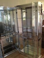 Show Glass & Chrome Display Cabinets with Mirror And Lighting