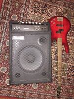 Ibanez bass guitar and amplifier