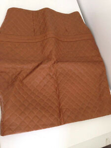 NEW Lamb Leather Quilted Tan color with side zipper SKIRT