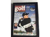 Signed Justin rose golf magazine and frame
