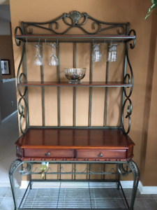 REDUCED PRICE!!! Glass/wood Dining Set with Baker's Rack