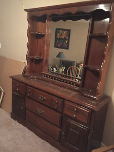 Real Wood Dresser and Matching Mirror