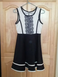Girl's Black/White Dress **Size Large-14** Only worn once!!