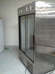 Commercial Refrigerator w/Double Glass Door & Stainless (Habco)