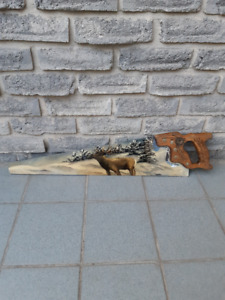 ARTIST HAND PAINTED OLD WOOD SAW