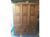 Solid Pine Wardrobe Three Door