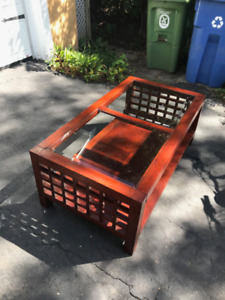 Glass top coffee table. Solid wood