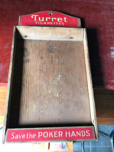 ANTIQUE TURRET CIGARETTES SAVE THE POKER HANDS WOODEN TRAY