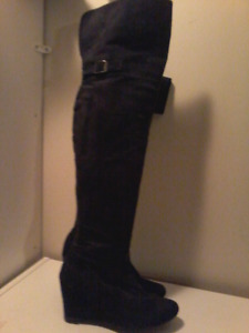 Black suede women's knee-high wedge boots