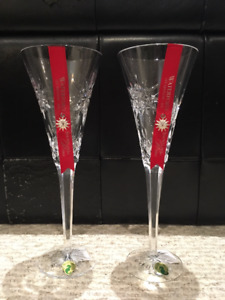 BRAND NEW IN BOX- Pair Waterford Crystal Champagne Flute Glasses