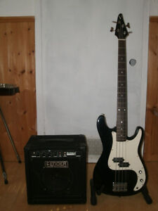 P STYLE BASS and FENDER RUMBLE 15 BASS AMP