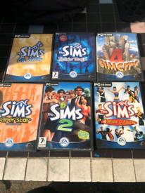 Sims pc cd Rom bundle x6