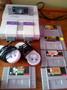 Great Condition Super Nintendo w Games + 2 controllers