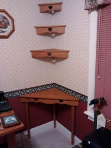 Triangle shaped table and 3 shelves
