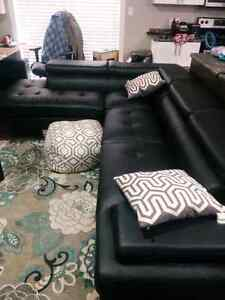 Modern Faux Black Leather Sectional