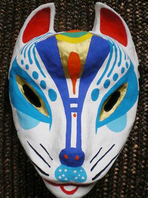 Japanese fox mask Miyazima kitsune Blue Antique F/S New