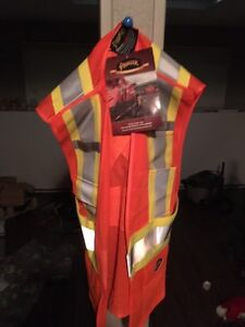 New safety vest and new hard hat