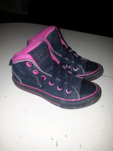 Girls Size 13 pink and black Converse High tops.