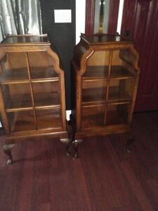 ANTIQUE QUEEN ANNE DISPLAY CABINETS