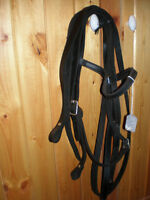black leather headstall with reins for sale