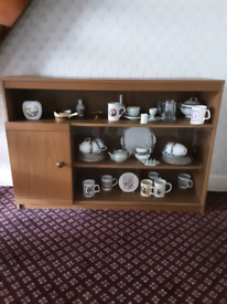 Display cabinet, with cupboard with shelving compartments.