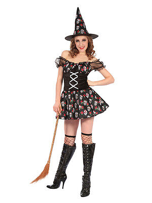 Adult Ladies Witch Costume Skull Design Halloween Fancy Dress Day Of The Dead