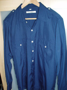 CHEMISE BLEU MARINE STYLE MILITAIRE MODE TAILLE L