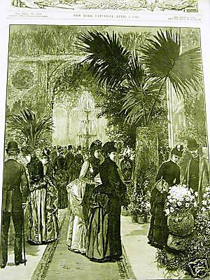 FLOWER SHOW MET OPERA HOUSE NYC 1886 Antqiue Art Print Matted