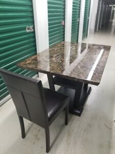 -* Kitchen Dinning room table with 6 leather chairs *-